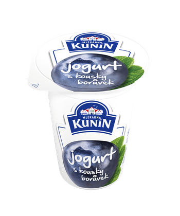 Jogurt s kousky borůvek